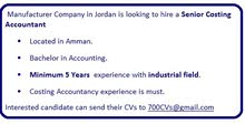 Senior Costing Accountant   is requiered