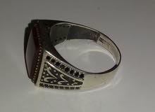 خاتم فضة ايطالى 925 -  بفص عقيق – رجالى-  8 جرام