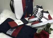 طقم تركي درجة أولى ( حذاء + حقيبة + محفظة + شال )