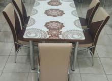 طاولات طعام زجاج جديدة 6 كراسي