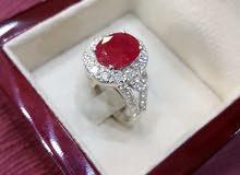 خاتم ملكي ذهب ابيض الماس حر وياقوت طبيعي