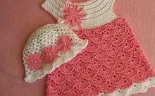 فستان كروشيه جاهز للبيع  لحلاتها الاموره ابنتك
