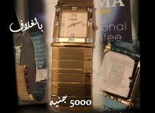 ساعة دلما سويسرية أصلية مطلية بالذهب لم تستعمل نهائيا - للبيع