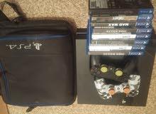 بلاي ستيشن 4 (مستعمل) + 8 دسكات + حقيبة للجهاز أصلية + حساب بلص لمدة 6 شهور
